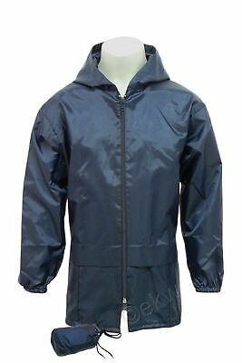 Kids Boys Girls Lightweight Kagool Kagoul Rain Coat Navy Mac Cagoule Age 4-12 yr