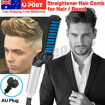 Men Quick Beard Straightener Styler Comb Electric Heated Hair Curling Show Tool