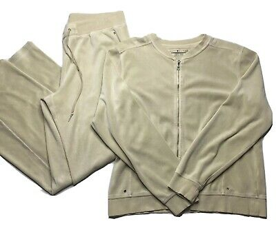 Vintage Tommy Hilfiger Creme Velour Track Suit Jog Set Rare XL Jacket L Pants