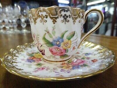 Stunning Antique Copeland Spode Hand Floral Coffee Cup and Saucer