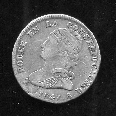"Ecuador - Beautiful Historical"" Capped Bust"" Silver 2 Reales,1847 Gj, Km# 33"