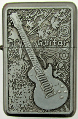 Personalised Engraved Silver Guitars Star Refillable Petrol Lighter Cig Gift 32
