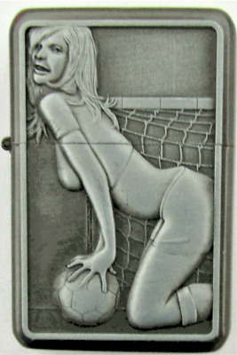 Personalised Engraved Silver Football Girl Refillable Star Petrol Lighter Gift26