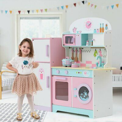 Educational Toy Kitchen Boys Girls Play Set with Fridge, Microwave, Stove & Sink