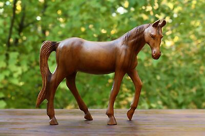 "12"" Large Wooden Hand Carved Walking Horse Art Figurine Statue Sculpture"