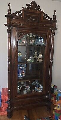 Antique Curved Glass Curio Display Cabinet Case Victorian Wood Ornate Key