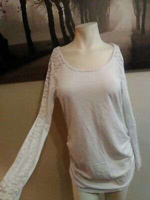 Ambiance Maternity White Lace Long Sleeve Ruched Knit Top Tunic Shirt Womens XL