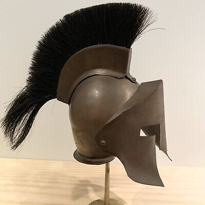 Vintage Brass Black Gladiator Knight Helmet and Stand Set