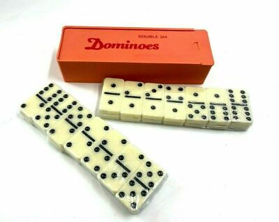 Standard DOMINOES Set of 28 Double Six Center Pin Domino Tiles With Plastic Case