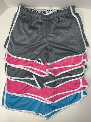 Justice For Girls Active Shorts Size 18 Lot Of 5 Pink Gray Blue Elastic Waist