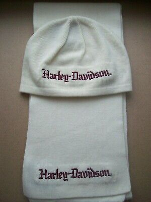 Very Nice Harley-Davidson Women's Beanie Knit Hat With Matching Scarf