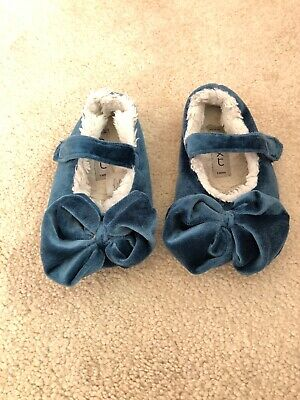 Next Girl Blue Bow Slippers Size 4.