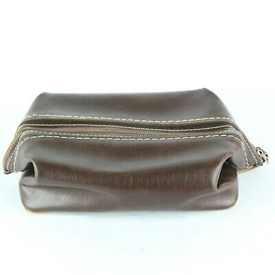 Vintage Brown Leather Attache Dopp Shaving Travel Toiletry Top Grain Cowhide Bag