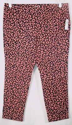 Old Navy New NWT Pixie Ankle Animal Print Pink/Navy Pants Stretch 14P