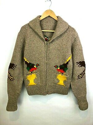 Cowichan Duck Hunting Sweater Vintage Hand Knit Full Zip Mens Medium