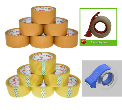 Long Length Packing Tape Strong Tan/ Brown / Clear Parcel Packaging Tape Cutter