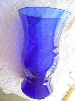 "Cobalt Blue Glass Vase Large 12"" High  8"" Top Opening  5"" Base  Rare Collectible"