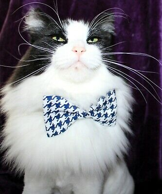 New Cat Navy Houndstooth Cotton Bow Tie & Breakaway Faux Leather Collar