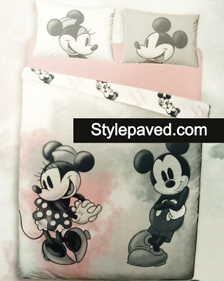 MICKEY MOUSE MINNIE Duvet Cover Set Watercolour Primark Reversible Dating Dance