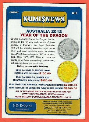 2012 Numisnews Booklets M R Roberts All 12 Monthly Issues