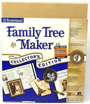 Broderrbund Family Tree Maker Version 9.0 Collector's Edition New