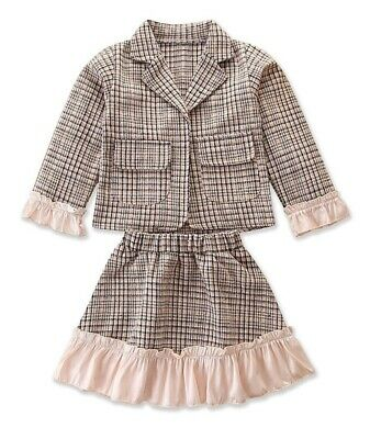 Girls Tartan Plaid Jacket and Skirt 2 Piece Outfit Set Ages 2 3 4 5 6 Years UK