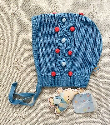 Kaloo Girls Blue Knitted Bonnet With Pom Poms. T45 3-6 Months. Never Worn.