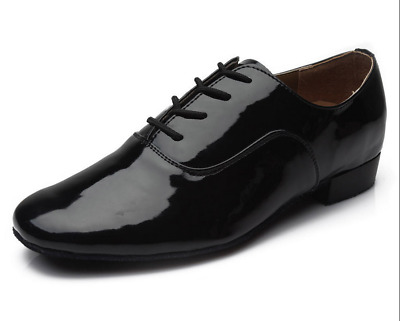 New Men's Black Patent Faux Leather Ballroom Dance Shoes With Suede Soles