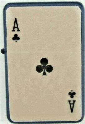 Personalised Engraved ACE OF CLUBS Star Refillable Petrol Lighter Poker Gift S55