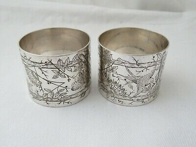 Pair Of Victorian Aesthetic Movement Napkin Rings - Silver Plate Mcn And Fcn