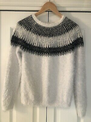 Next, Fairlisle Fluffy Jumper, With Wool, In Cream For Girls 16 Years