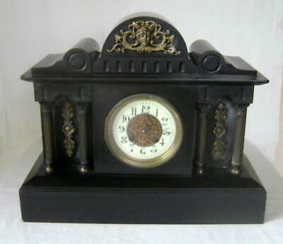 Large Victorian Black Slate & Brass  Mantle Clock : 8 Day striking on Gong