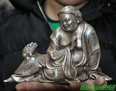 old china Tibet silver Liu Hai God Immortals play wealth animal gold toad statue