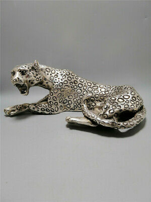 """9.84"""" Exquisite Antique Chinese copper silver plating Handmade Leopard statue"""