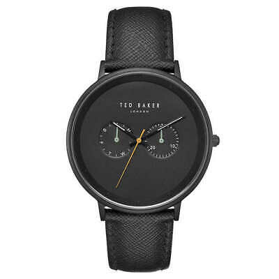 Ted Baker TE50657002 Black Leather Strap Day/Date Dial Men's Watch - New!