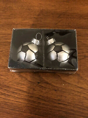 Let's Get Merry Set Of 2 Soccer Ball Glass Ornaments NIP