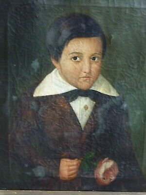 Antique folk art early 19th century painting young boy