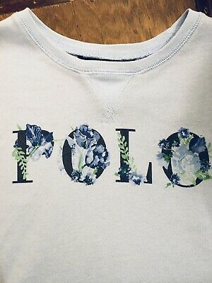 Polo Ralph Lauren Sweatshirt Girls' Age 12-14 Light Blue With Floral Logo