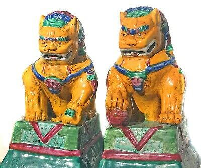 "Pair Of Majolica Hand Painted Chinese Foo Dogs Statues Fine Art Home Decor 8"" T"