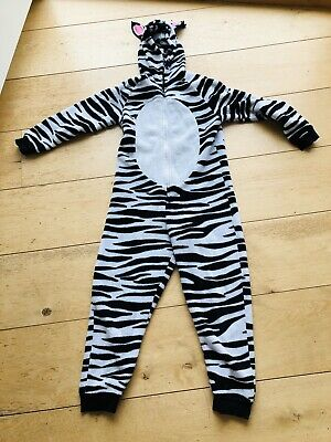 Marks And Spencer M&S Girls One Piece Sleepsuit Zebra 11-12years Black And White