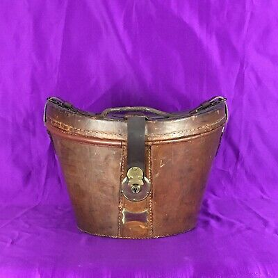 Vintage Leather Top Hat Case • Fully Restored • Luggage English Made