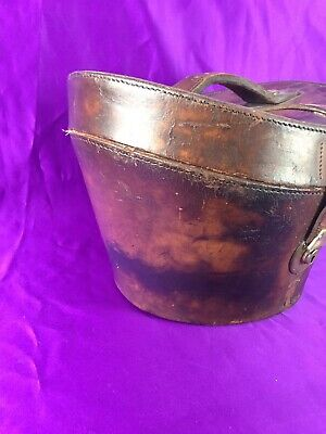 Vintage Leather Top Hat Case • Large Size For Tall Hats • Luggage English Made