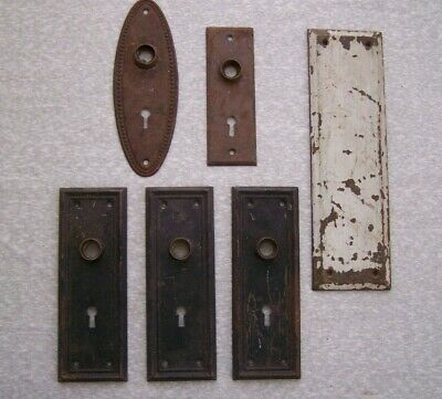 Lot Of 6 Antique Vintage Metal Door Knob Back Plates Skeleton Keyhole & Solid