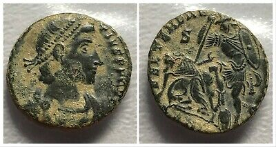 Constantius II AE Follis Antioch Mint Soldier Spearing Horseman 350-355 AD