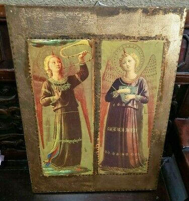 Antique Late 19th Century Russian Large Icon Angels Original Painting on Wood