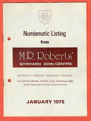 1975 Numismatic Listings from M R Roberts Wynyard Coin Centre 8 issues