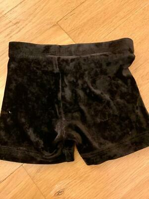 Girls Gk Elite Gymnastics Black Crushed Velvet Shorts Size Child Extra Small CXS
