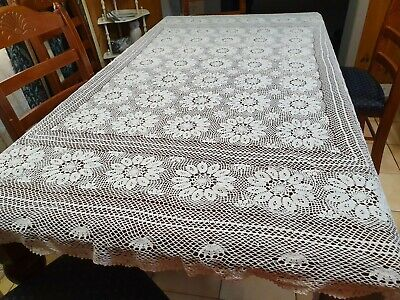 Vintage Handmade White Floral Rectangle Tablecloth - 205cm x 185cm -