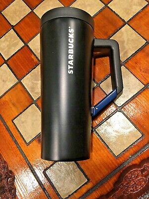 Starbucks NEW BLACK MATTE Stainless Steel Tumbler Mug with BLUE Clip Handle 16oz