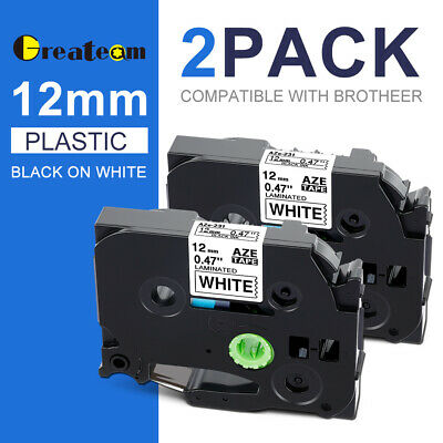 TZe-231 2 pk compatible Brother P-Touch label tape TZ231 12mm Black on White AU